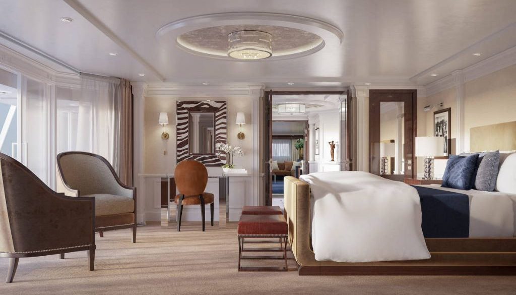 Oceana Cruises The Master Bedroom in the re-designed Owner's Suite onboard Marina and Riviera by Ralph Lauren Home and Designer Trevor Howells - Photo by Oceana Cruises